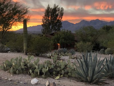 Sunset over the Santa Catalinas, looking toward the front of the house