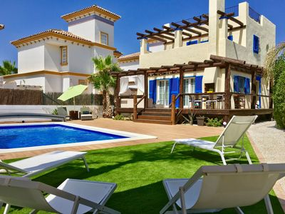 Photo for VILLA WITH PRIVATE POOL TWENTY METERS FROM THE BEACH IN CALA MARQUES-VERA