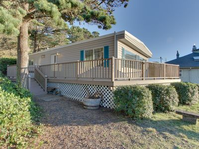 Photo for Cute, dog-friendly home w/ deck, ocean view, & beach access across the street
