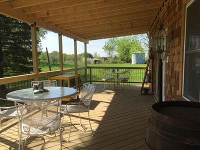 Walk out deck with seating for 8