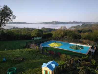 Shared pool with stunning views over the gorge du Viaur