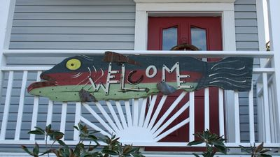 Front porch sign to welcome you.