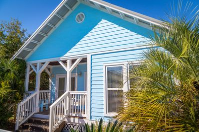 The Perfect 30A Beach Cottage. Porch swing is the perfect spot for coffee and catching up on your favorite book.