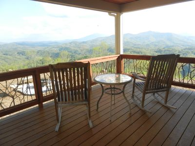 Photo for Jewel in the sky. Views! New cabin 2018, Private. Covered side deck & Fire-pit.