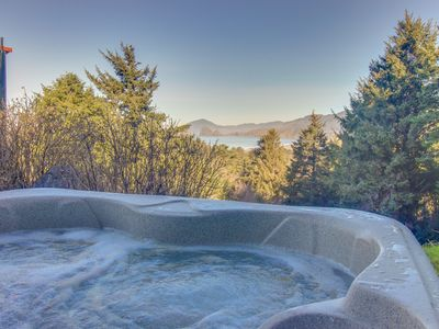 Photo for Stone craftsman-style house w/ partial ocean view & hot tub -2 dogs ok!