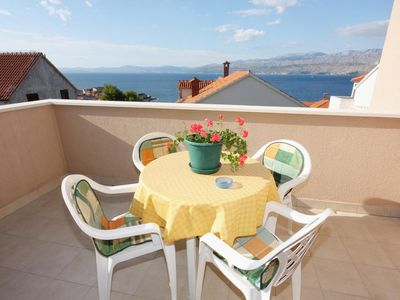 Photo for One bedroom apartment with terrace and sea view Postira, Brač (A-5617-c)