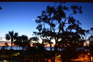 Early mornings bring beautiful sunrises (from the balcony, with a SC crescent moon!)