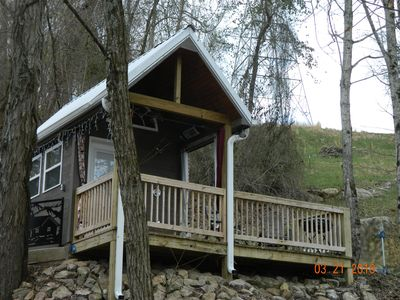 Photo for T-TINY Cabin 95 sq ft INDOOR POOL, DECK, GRILL, OUTDOOR SHOWER Chatt TN 21 miles