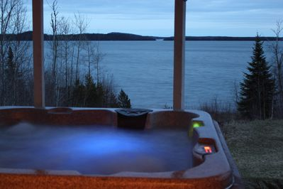 View of the lake while relaxing in the hot tub.