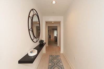 The foyer welcomes you into a contemporary bright and light design