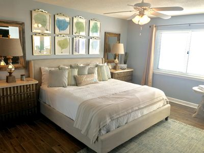 Master bedroom with king size bed and Gulf of Mexico views