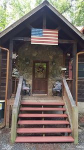 Front of cabin!