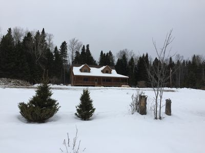 Photo for Gorgeous new four bedroom cabin, with Moose River access, on snow mobile trail