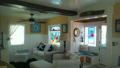 Redwood Mudroom and Living room full of Beautiful Stained Glass & Decor...