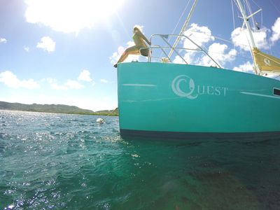 Photo for Catamaran Quest is 57' luxury yacht cruising the US & British Virgin Islands