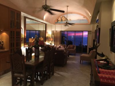 Long view of Dining and Living Room