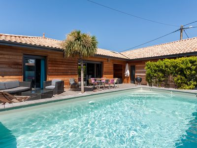 Photo for A house with private, heated pool in Carcans Plage 50 m away from the beach