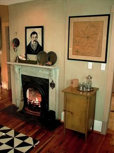 Cozy fireplace in The Loft's kitchen