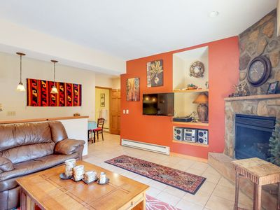 Photo for NEW LISTING! Homey condo w/ fireplace, flat screens, stereo & ski access!