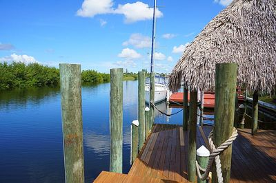 Large dock for lounging. Step-down  access to kayaks