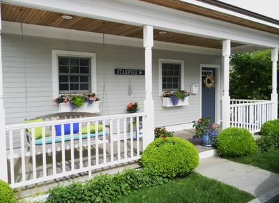 Front porch with double swing