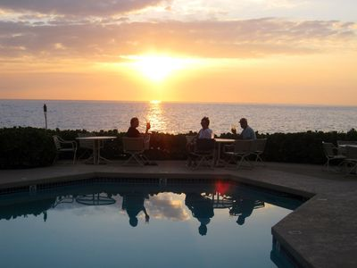 ocean and sunset by the pool all year round