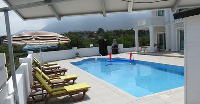 Large 10m x 5m private pool with extensive terracing and 180 degree views