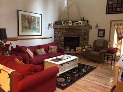 Great room with comfy overstaffed sofas and Barcalounger