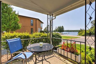 Enjoy views of Eagle Harbor from the front porch of this rental home in Ephraim!