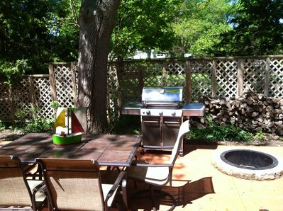 Relaxing patio with new Weber grill and firepit- we even chopped the wood!