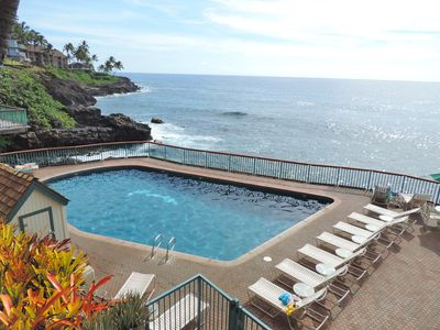 Our heated, tiled oceanfront pool is the envy of the south shore.