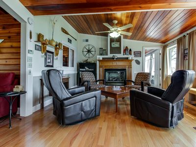 Photo for Secluded lakefront cottage w/ gorgeous views, a deck & sandy beach access!