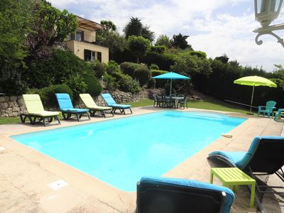The private  pool is 9 meters by 4.5 meters, with a max depth of 1.8 meters