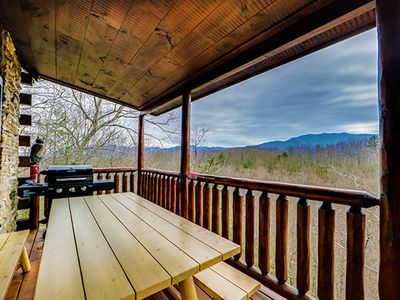 Photo for Mountain view cabin w/ private hot tub, game room, and shared pool!