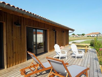 Photo for New 3 * wood villa, overlooking the Landes forest