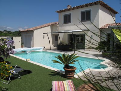 Photo for Modern new villa in Ste Maxime 600m beach of Nartelle heated pool.