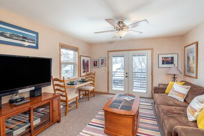 Viking Lodge 311 - the living room opens out to a private deck.