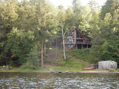 Our beautiful home from the lake.  Quiet and secluded with spectacular views.