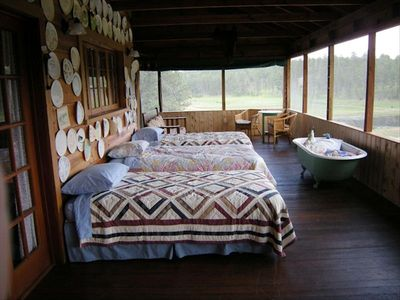 This is our lovely sleeping porch, which faces views of Harney Peak and Elkhorn.