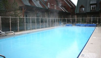 There is a heated outdoor pool on-site.