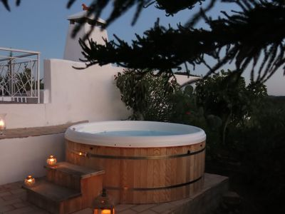 Photo for Private heated pool & hot tub - no extra cost: charming secluded rustic cottage
