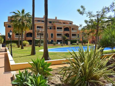 Photo for Apartment in Javea, air-con, 2 bedrooms, pool, sea 250 meters