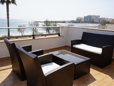 Photo for Apartment with terrace by the beach with sea view - Antic 102