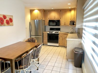 Large breakfast table in kitchen