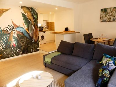 Bright livingroom with sofa bed for 2 people