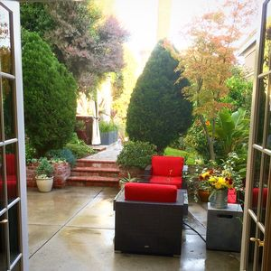 French Doors open from your apartment onto a lovely private garden with hot tub