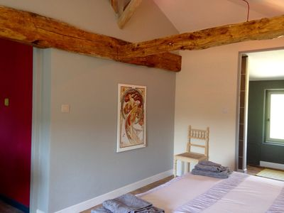 Calming blue/grey and vanilla decor. Electric adjustable beds.