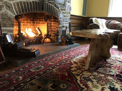 One of 3 gas-log fireplaces in the Wrightsville cabin rental.