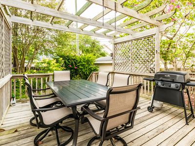 Deck - Grill dinner on the shaded deck then enjoy your meal at the table with seating for 6.
