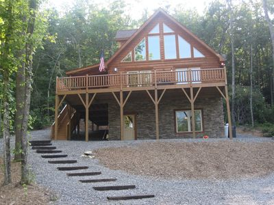 Front View of Cabin Overlooking Pond